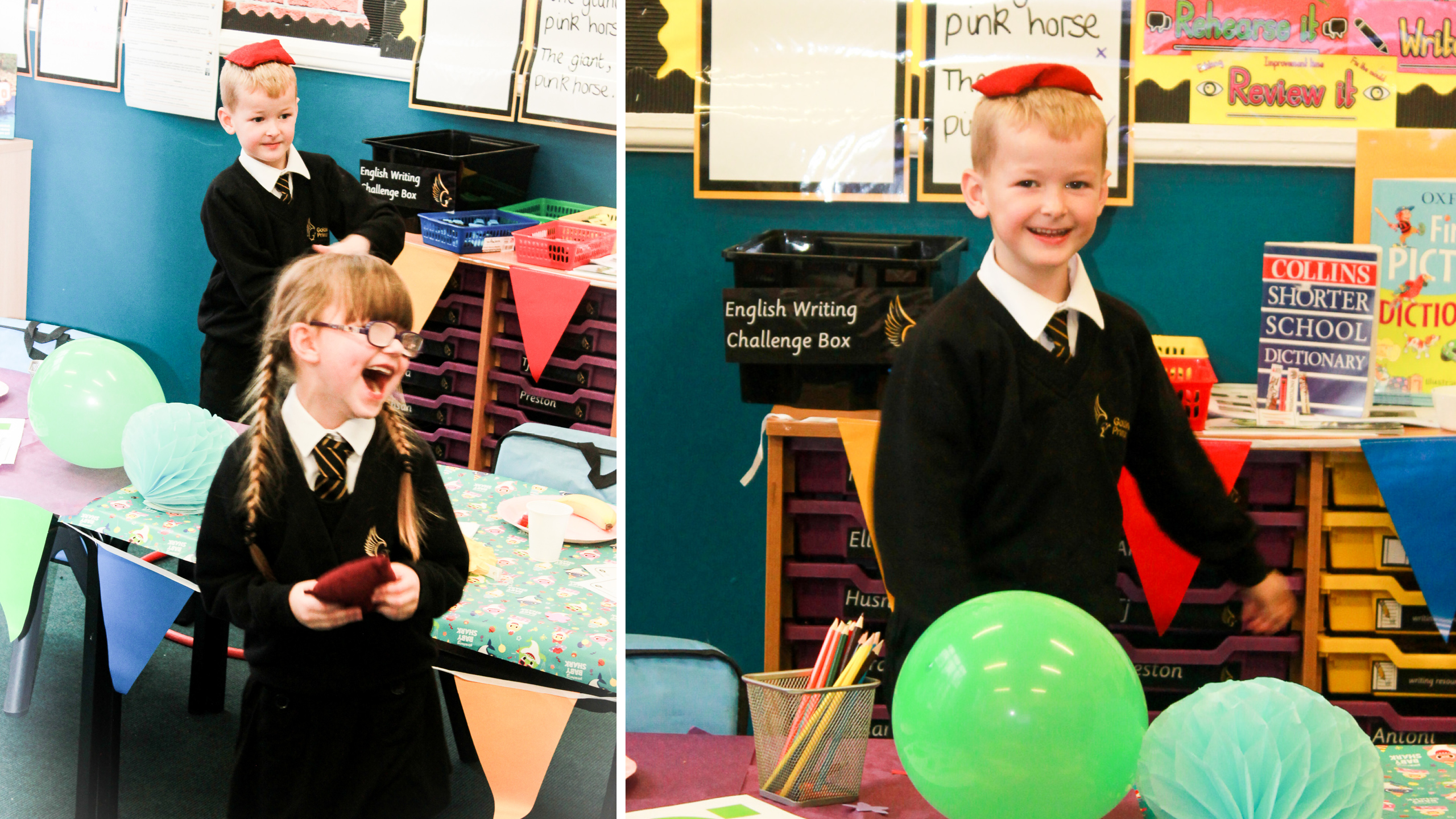 children take part in birthday party games at golsmith primary academy
