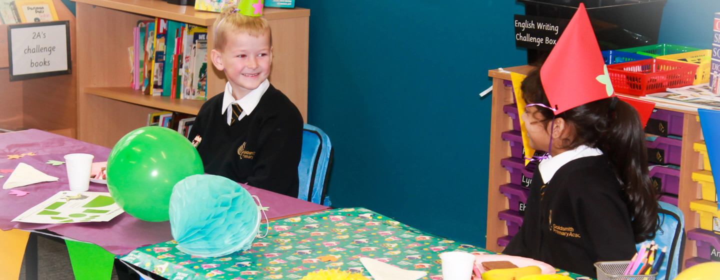 children at goldsmith primary academy celebrate class birthday party with friends